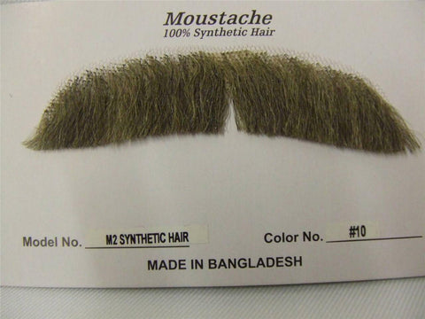 Hand Made Moustache ~ M 2 ~ Downturn ~ 10 ~ light brown ~ Human hair