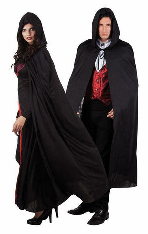 Black Hooded Cape Halloween 180 cm long Dracula Vampire Witch GOT LOTR