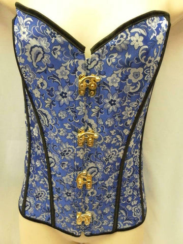 Bustier Basque Blue and Black Burlesque Steam Punk Size XL 14 - 16