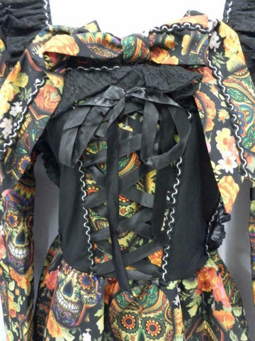 Day Of The Dead Dress Dia De Los Muertos Death Halloween Costume L 14 - 16 skulls and flowers