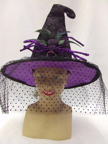 Witch Hat Black and Purple with Large Purple metal Glitter Spider Halloween