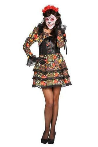 Day Of The Dead Dress Dia De Los Muertos Death Halloween Costume M - 12 - 14 skulls and flowers