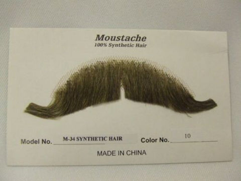 Hand Made Moustache M34 Edwardian 10 light brown  theatrical Human Hair