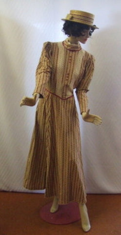 Victorian Striped Gown Hire ~ Size 16 ~ Day dress