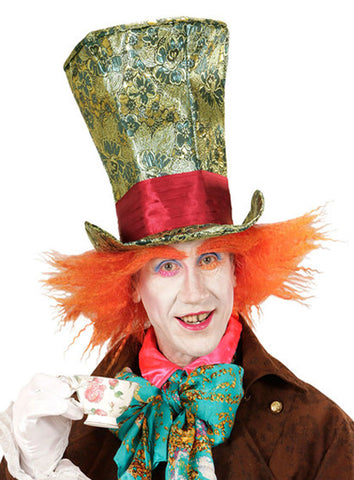 Mad Hatter Green and gold Top Hat with Orange Wig  Alice in Wonderland  Book week