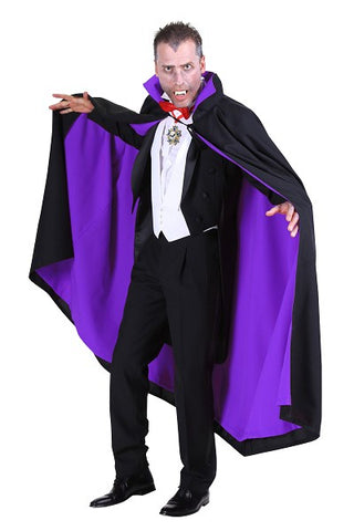 Deluxe Black and Purple Cape ~ Halloween ~ 140cm long ~ Dracula ~ Vampire