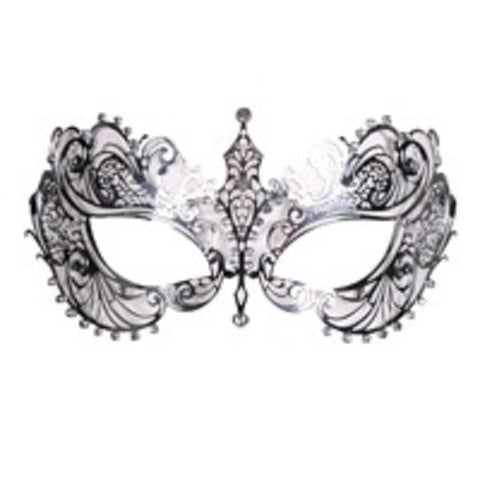 Silver  Metal Mask with Diamante   Masquerade ball 18th century Venetian