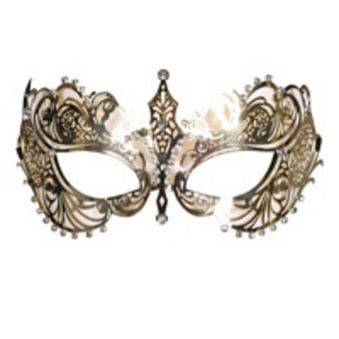 Gold Metal Mask with Diamante   Masquerade ball 18th century Venetian