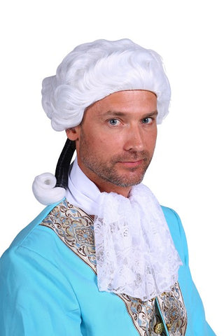 White  Court Wig  Mans  18th Century  Colonial Man  Panto Deluxe