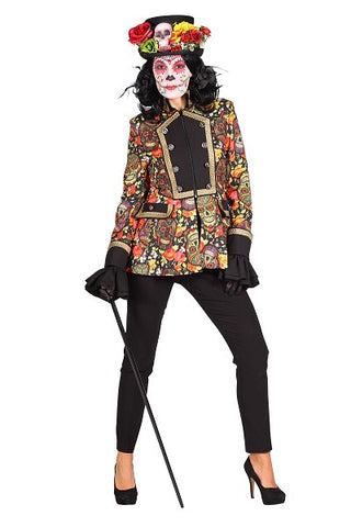 Day of the Dead Skull Jacket  Halloween Costume fancy dress ladies, XXL size 22 multi coloured