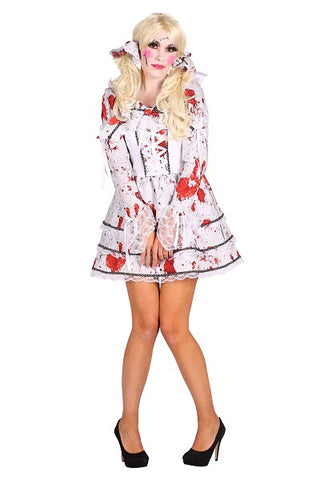 Halloween Bride Dress Death Day of the Dead Bloody Costume M 12 - 14