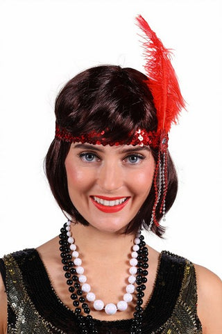 1920's feather headband ~ Gatsby ~ Bonnie ~ Flapper - black purple silver red gold
