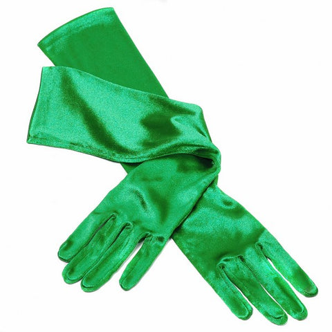 Emerald green long satin gloves showgirl burlesque Victorian Edwardian steam punk