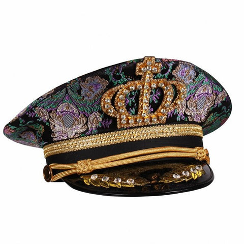 Captain Cap Purple and green Brocade Hat YMCA Festival Pride Military Boy George Size 59