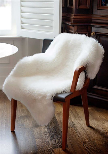 Ivory Bear Faux Fur Chair Cover