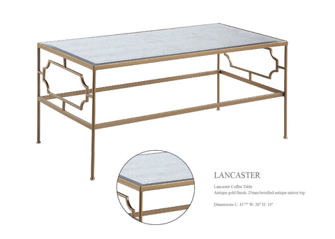 LANCASTER  Coffee Table with Mirror Top