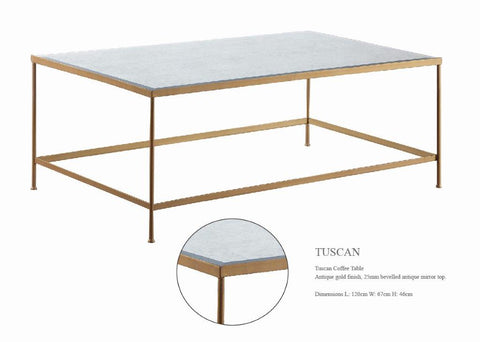 TUSCAN Coffee Table with Mirror Top