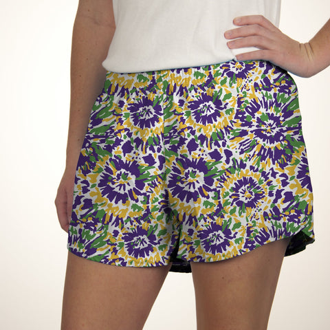 Youth Tie Dye Mardi Gras Short