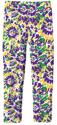 Youth Tie Dye Mardi Gras Legging