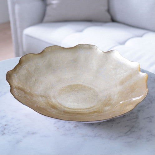 New Orleans Gold Crackle Centerpiece Bowl