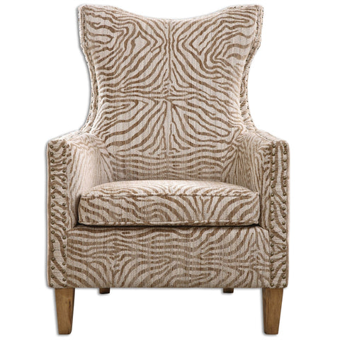 KIA Animal Print Wing Chair