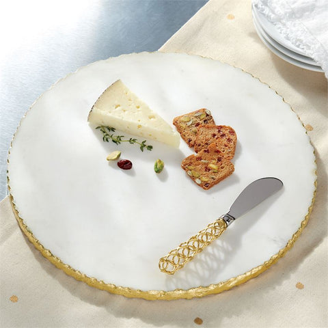 Round Gold & Marble Cheese Board with Knife