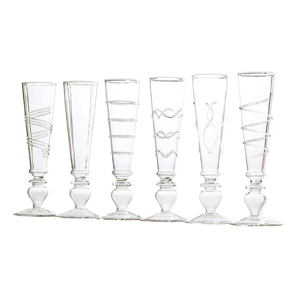 Footed Razzle Dazzle Champ  Clear Glasses S/6