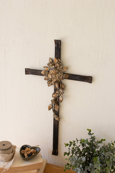 Metal Cross with Flower Detail