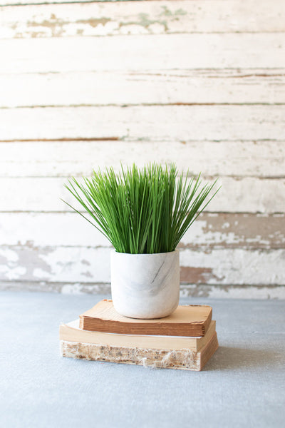 Faux Grass in Marble Pot