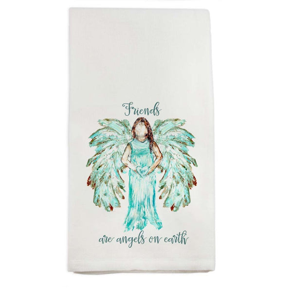 Friends Are Angels On Earth Tea Towel