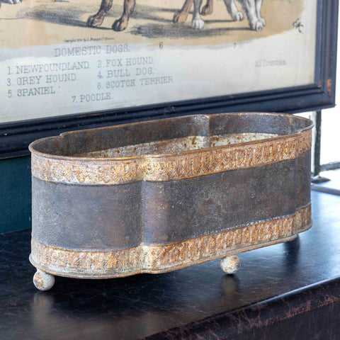 Aged Metal Mantel Planter