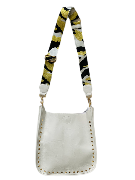 White  Studded Messenger Bag with Stra