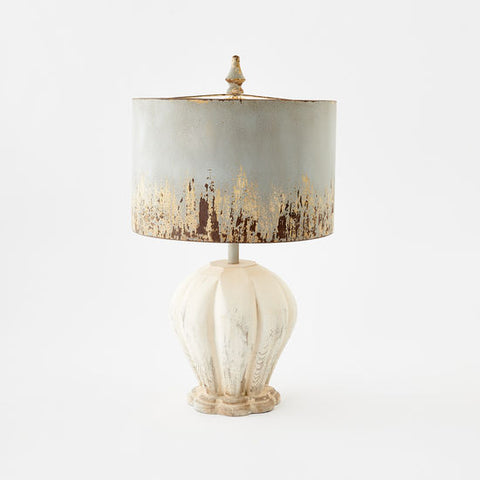 White Washed Metal & Wood Lamp