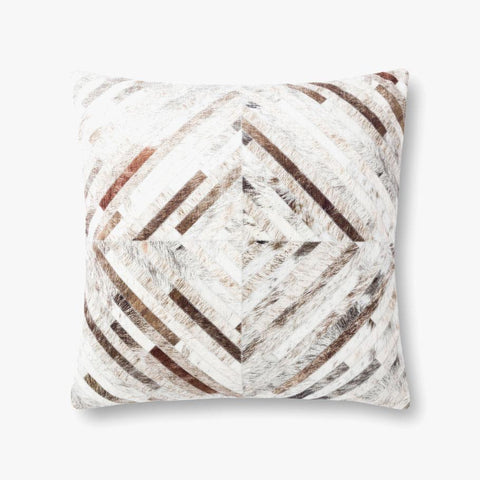 "Diamond  Faux Hide 22"" Down Pillow"