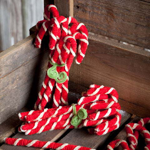 Vintage Chenille Candy Canes Set of 12