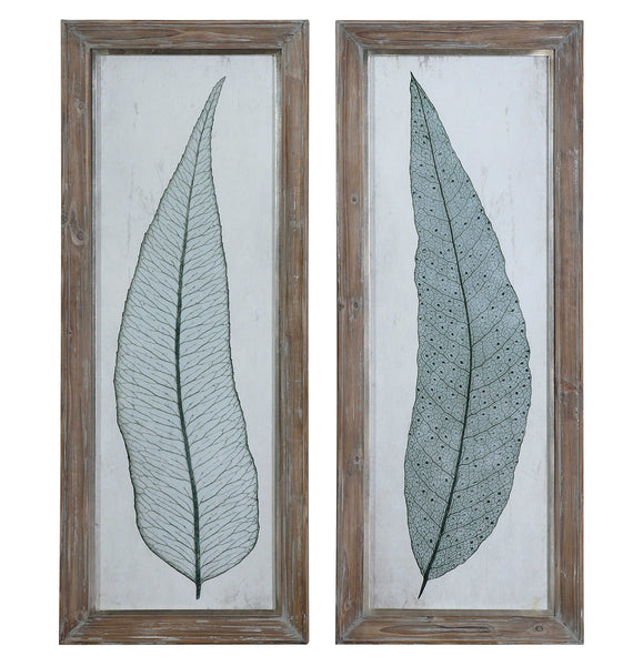 Tall Leaves Framed Pair
