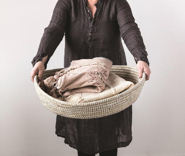 Round Hand Woven Grass Basket with Handles