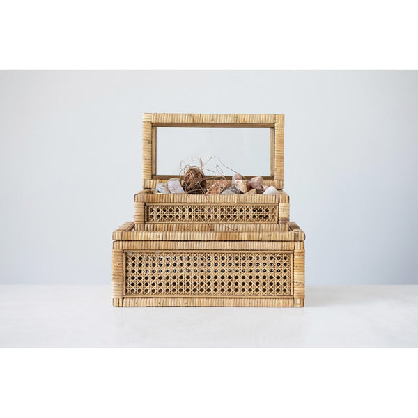 Rattan & Wood Display Box w/ Glass Lid