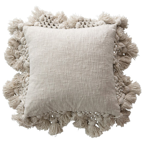 Grey Slub Pillow with Crochet & Tassels