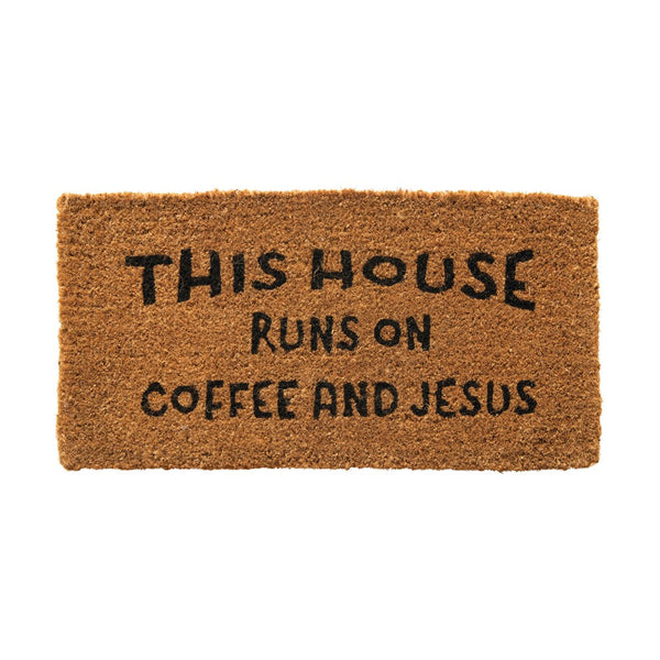 This House Runs on Coffee & Jesus Door Mat