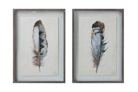 Feather Prints in Floating Frame