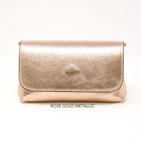 SM Leather Metallic Crossbody Bag