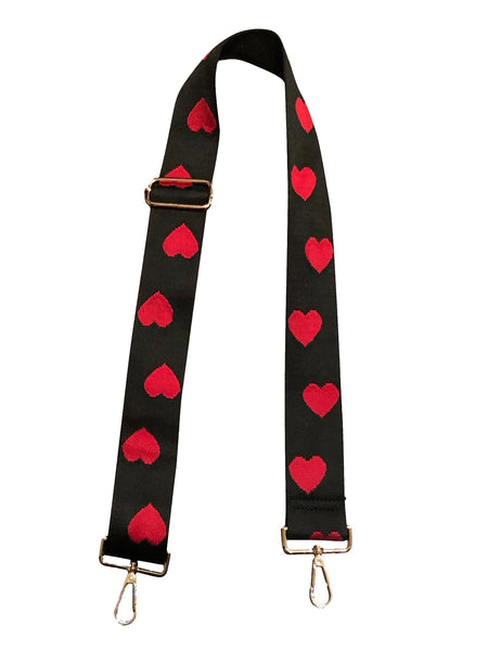 Black Strap with Red Hearts 2""