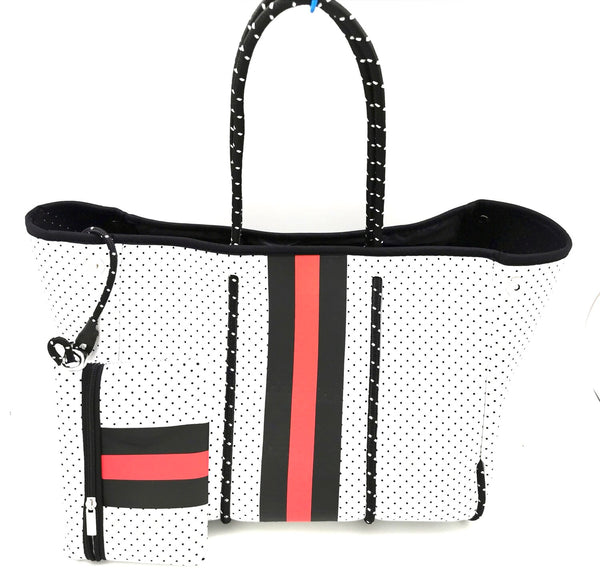 White Bag Red & Black Stripes