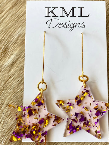 Acrylic Purple/Gold Star Dangles