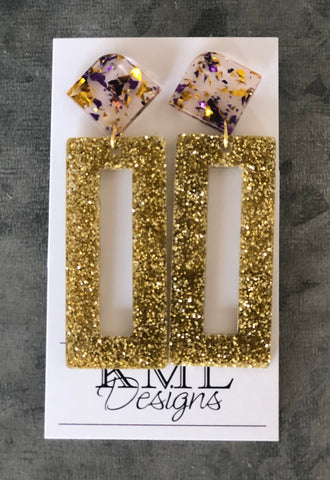 KML Acrylic Gold Rectangle Earrings