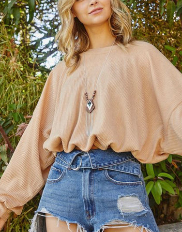 Round Neck Top Camel
