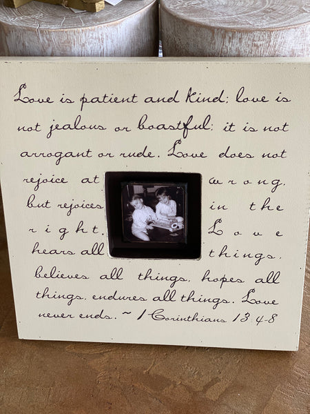 """Love Is Patient"" Cream Custom Photo Box"