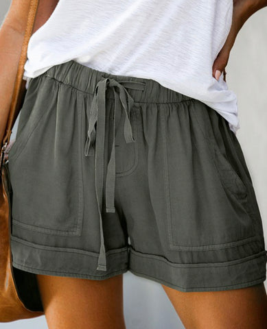 Green Drawstring Shorts with Pocket