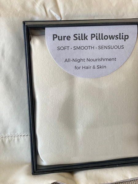 100% Silk STD  Pillow Case Bone